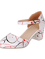 Women's Shoes Patent Leather Chunky Heel Heels / Round Toe Heels Dress Black / White