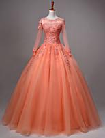 Princess Wedding Dress-Orange / Fuchsia / Burgundy / Pearl Pink Floor-length Jewel Lace / Tulle