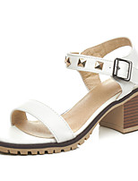 Women's Sandals Spring Summer Fall Slingback Synthetic PU Office & Career Dress Party & Evening Chunky Heel Block Heel RivetWhite Black