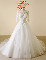 A-line Wedding Dress-Ivory Chapel Train Scoop Lace / Satin / Tulle