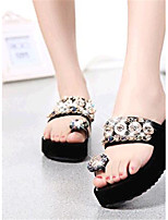 Women's Shoes Leatherette Flat Heel Comfort Sandals / Slippers Outdoor / Casual Black