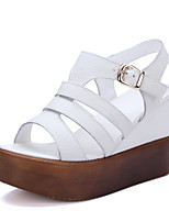 Women's Shoes Leather Wedge Heel Peep Toe / Platform / Comfort Sandals Outdoor / Dress Beige