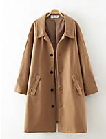 Women's Solid Brown / Green Pea Coats,Simple Long Sleeve Polyester