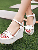 Women's Shoes Wedge Heel Wedges / Peep Toe / Platform Sandals Party & Evening / Dress / Casual Blue / White / Beige