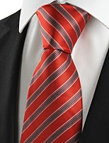 KissTies Men's New Red Grey Striped Microfiber Tie Necktie For Wedding Party Holiday With Gift Box