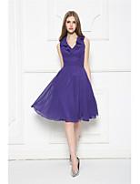Knee-length Chiffon Bridesmaid Dress-Regency A-line V-neck