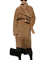 Women's Solid Brown Pea Coats,Vintage / Street chic Long Sleeve Wool
