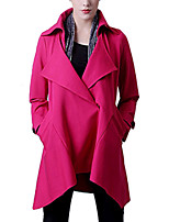Women's Solid Pink / Black Coat,Simple Long Sleeve Cotton