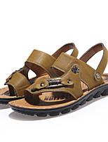 Sapatos Masculinos-Sandálias-Preto / Marrom / Amarelo / Khaki-Courino-Casual