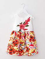 Girl's White Dress,Floral / Dresswear Cotton / Polyester All Seasons