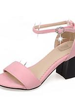 Women's Shoes Velvet/Chunky Heels/Sling back/Open Toe Sandals Party & Evening/Dress Black/Pink/Gray