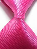 New Striped Hot Pink JACQUARD WOVEN Men's Tie Necktie TIE2042