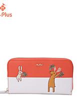 Bi-fold (due scomparti)-Portafoglio-Donna-PU-Arancione / Nero