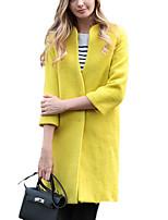 Women's Solid Blue / Yellow Coat,Simple Long Sleeve Wool