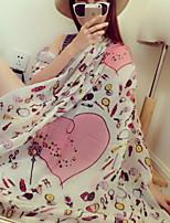 Women Korean Fan Flowers White Love Printed Fringed Cotton Oversized Scarf Beautiful Scarves