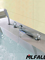Mlfalls New Products Five Holes Crystal Handles Temperatured Led Waterfall  Chrome Finish Bathroom Taps