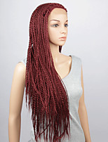 Fashion Synthetic Wigs Lace Front Wigs 32inch Braided Red Heat Resistant Hair Wigs Women