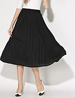 Women's All Matches Solid Color Chiffon Pleated skirt Skirts The fairy Maxi Dresses Full-skirted dress