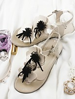Women's Shoes Leatherette Flat Heel Round Toe Sandals Outdoor / Casual Black / Purple / White