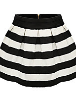 Women's Striped Blue / Black Skirts,Sexy Above Knee