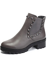 Women's Shoes Cowhide Chunky Heel Fashion Boots Boots Outdoor / Dress / Casual Black / Red / Gray