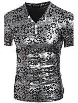 Herren Druck Sexy Street Schick Punk & Gothic Strand Klub Urlaub T-shirt,V-Ausschnitt Alle Saisons Kurzarm Polyester Elasthan Dünn