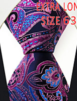 Men's Tie Fuchsia Paisley 100% Silk Business  Dress Casual Long