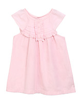 Girl's Pink Dress,Solid Cotton Summer