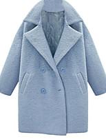 Women's Solid Blue Coat,Simple Long Sleeve Wool