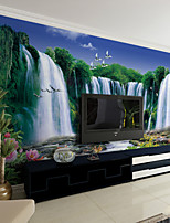 JAMMORY Art Deco Wallpaper Contemporary Wall Covering,Non-woven Paper Nature Waterfall Landscape Wallpaper Mural