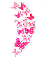 3D Wall Stickers Wall Decals Style The Colored Dots Butterfly PVC Wall Stickers(12CM-2PCS、9CM-2PCS、7CM-8PCS)