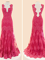 Formal Evening Dress-Fuchsia Trumpet/Mermaid V-neck Floor-length Lace / Tulle