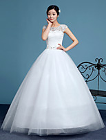 A-line Wedding Dress-White Floor-length Scoop Lace / Tulle