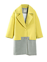 Women's Color Block Pink / Yellow Coat,Simple Long Sleeve Polyester