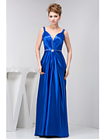 Formal Evening Dress Sheath / Column Straps Floor-length Charmeuse with Beading / Draping