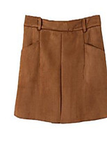 Women's Solid Brown Skirts,Casual / Day Above Knee