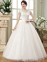 Ball Gown Wedding Dress-White Floor-length V-neck Lace / Organza / Satin