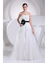 A-line Wedding Dress-Ivory Chapel Train Sweetheart Satin / Tulle