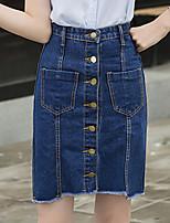 De las mujeres Faldas-Sobre la rodilla Vintage / Chic de Calle Rígido-Algodón