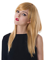 Long Length Straight Hair European Weave Blonde Color Hair Synthetic Wig
