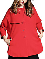 Women's Solid Red / Green Coat,Simple / Street chic Long Sleeve Polyester