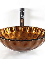 Round Contemporary Bathroom Tempered Glass Sink Set