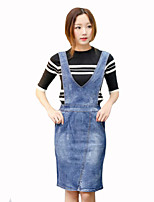 Women's Solid Blue Skirts,Plus Size / Casual / Day Knee-length