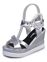Women's Shoes Synthetic Wedge Heel Peep Toe Sandals Office & Career / Casual White / Silver