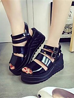 Women's Shoes Leatherette Platform Peep Toe / Creepers Sandals Casual Black