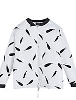 Women's Print White / Black Coat,Simple Long Sleeve Cotton