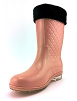 Women's Shoes Silicone Low Heel Rain Boots Flats / Boots Outdoor Blue / Brown / Pink