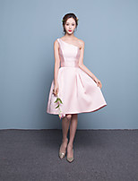 Short/Mini Satin Bridesmaid Dress-Candy Pink Fit & Flare One Shoulder