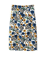 Women's Floral Blue Skirts,Street chic Above Knee