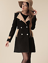 Women's Color Block Black / Brown Pea Coats,Street chic / Punk & Gothic Long Sleeve Cashmere / Polyester